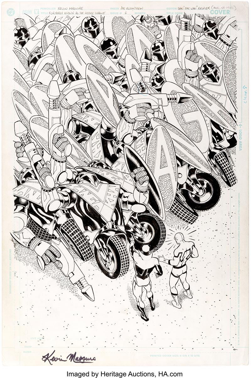 Unpublished original cover art by Kevin Maguire and Joe Rubenstein for Formerly Known as the Justice League #6; imaged by Heritage Auctions, HA.com