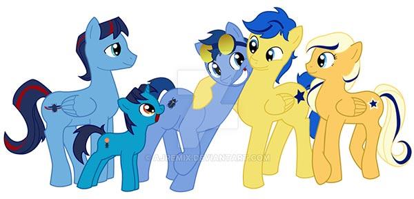 DCU-MLP Blue 'n Gold Ponies by ajremix  (via DeviantArt.com)