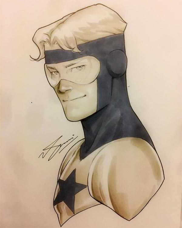 Booster Gold sketch by Sam Basri