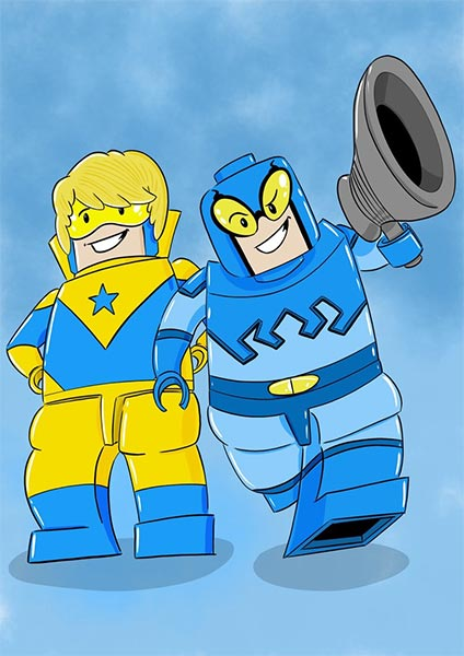 Lego Blue Beetle and Booster Gold by Basstudio at DeviantArt.com
