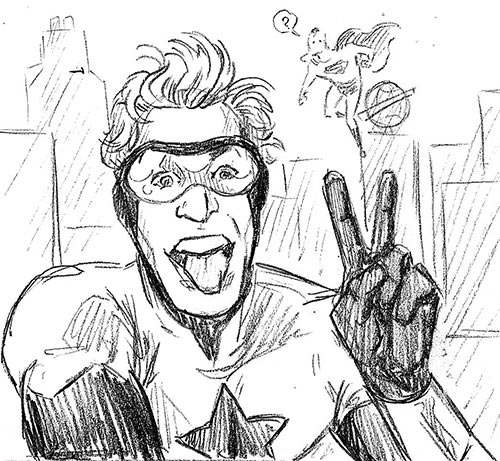 Booster Gold selfie sketch by Mike Becker