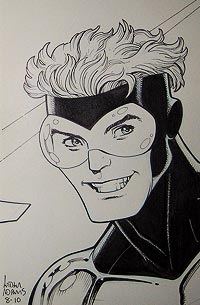 Art Adams draws Booster Gold for The Blot Says