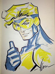 Ale Garza draws Booster Gold for The Blot Says