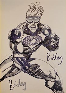 Simon Bisley draws Booster Gold for The Blot Says