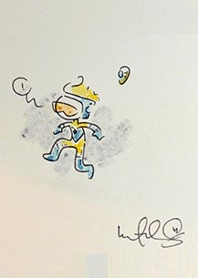 Katie Cook draws Booster Gold for The Blot Says