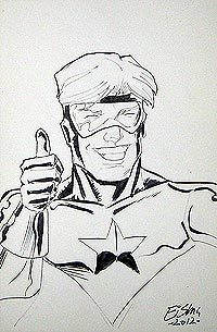 Joe Eisma draws Booster Gold for The Blot Says
