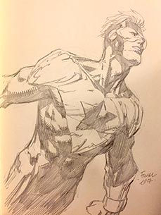 David Finch draws Booster Gold for The Blot Says