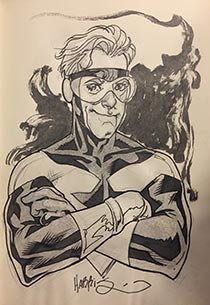 Tony draws Booster Gold for The Blot Says