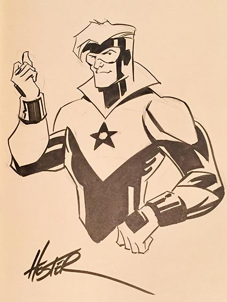 Phil Hester draws Booster Gold for The Blot Says