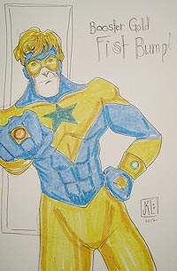 Janet K. Lee draws Booster Gold for The Blot Says