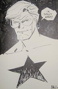Andy Kuhn draws Booster Gold for The Blot Says