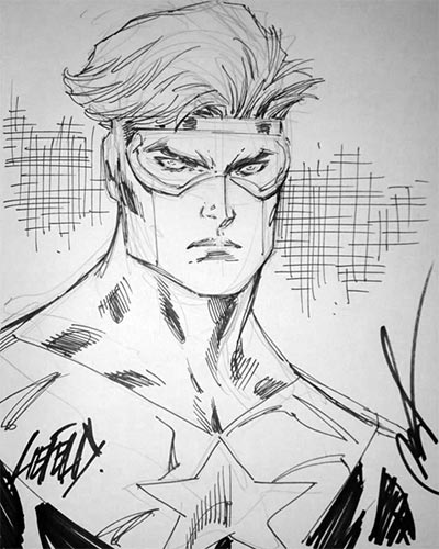 Rob Liefeld draws Booster Gold for The Blot Says