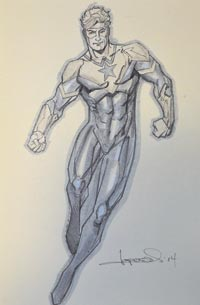 Aaron Lopresti draws Booster Gold for The Blot Says