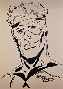 Bob McLeod draws Booster Gold for The Blot Says