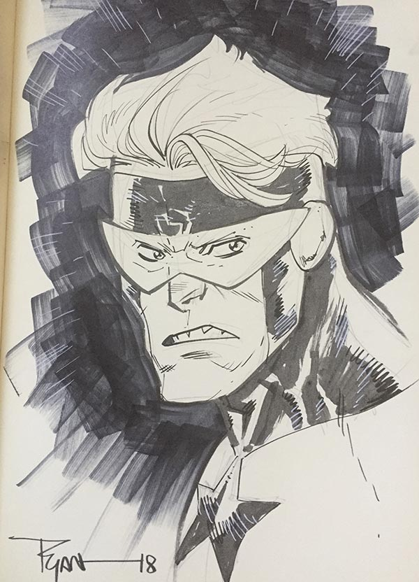 Ryan Ottley draws Booster Gold for The Blot Says