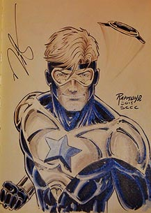 Norm Rapmund draws Booster Gold for The Blot Says