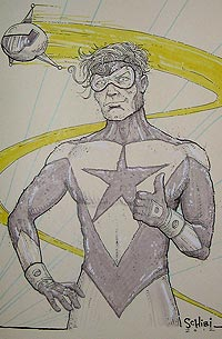 Cody Schibi draws Booster Gold for The Blot Says