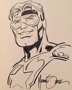 Mick Zeck draws Booster Gold for The Blot Says
