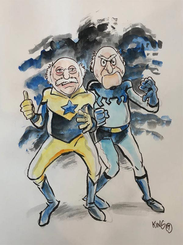 Statler and Waldorf as booster gold / blue beetle by BoldFacedComics on deviantart.com