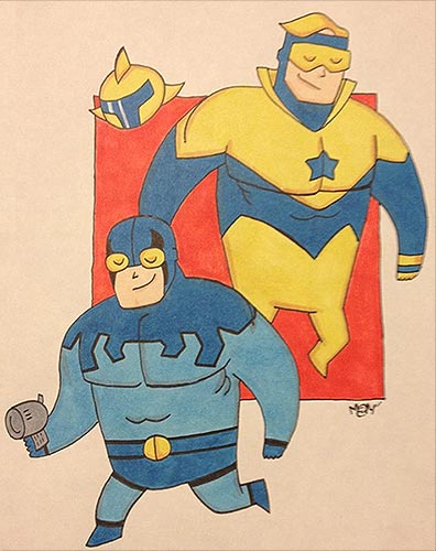 Smuggies Blue Beetle and Booster Gold by CapybaraINK