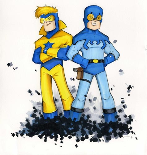 Booster Gold and Blue Beetle by Chris Uminga
