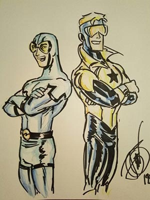John Delaney draws Booster Gold for Cort