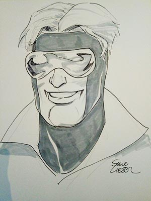 Steve Lieber draws Booster Gold for Cort
