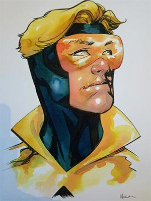 Mike McKone draws Booster Gold for Cort
