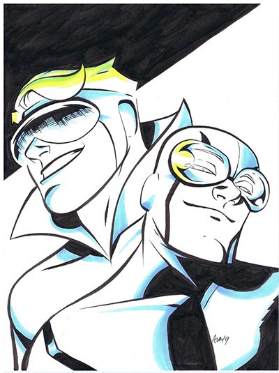 Booster Gold and Blue Beetle by Michael Avon Oeming