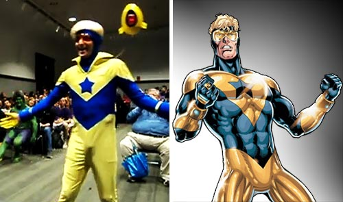 Booster Gold at Boston Comic Con 2012 vs. Booster Gold by Dan Jurgens
