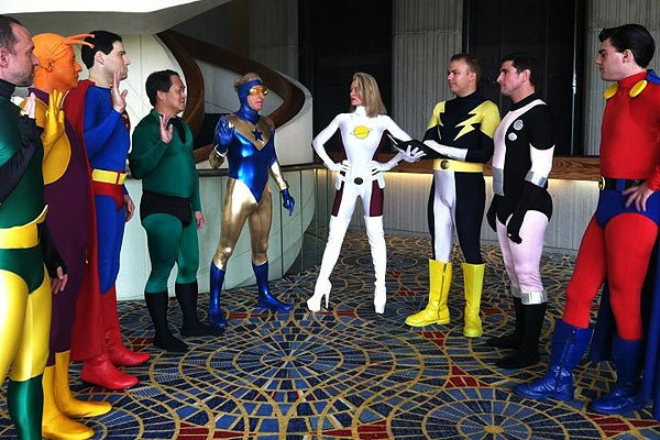 Booster Gold joins the Legion of Super Heroes at Dragon Con 2012 (pic courtesy KalelKara of The Superhero Costuming Forum)