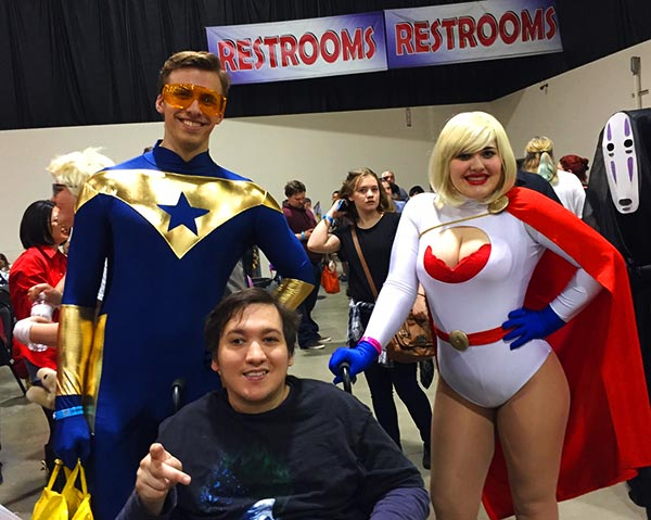 Bob with Booster Gold and Power Girl cosplayers at Motor City Comic Con 2016