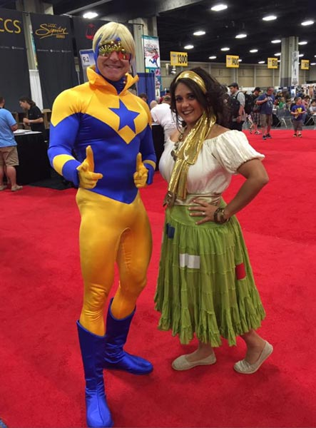 Booster Gold and Gypsy at Heroes Con 2017, photo by Shag
