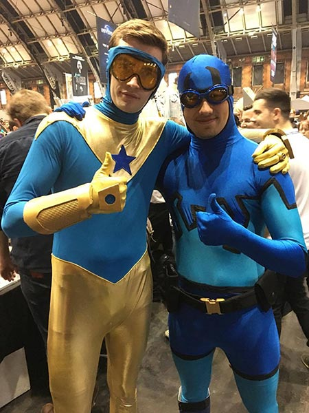 George Pooley as Booster Gold at MCM Manchester 2017