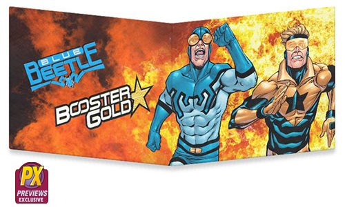 Previews Exclusive Dynomighty Mighty Wallet featuring Booster Gold and Blue Beetle