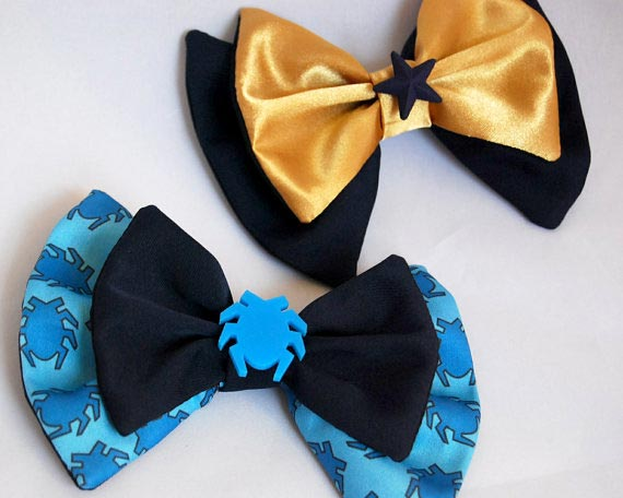 Blue and Gold Bows by dexlarprice at Etsy.com