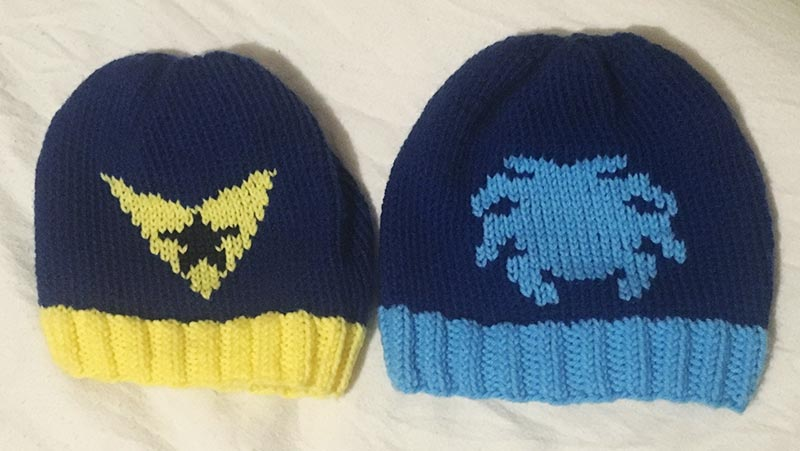 Blue and Gold knits hats by HatsByZero on etsy.com
