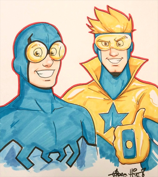 Blue Beetle and Booster Gold sketch by Adam Hicks via ComicArtFans.com