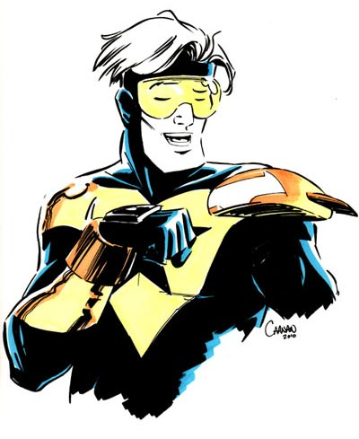 Booster Gold fist bump by Caanan Grall
