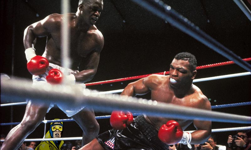 Buster Douglas knocks out Mike Tyson on February 11, 1990