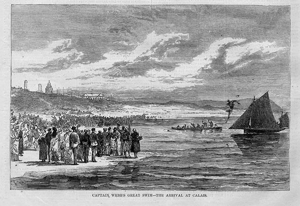 Captain Webb's Great Swim Arrival at Calais, August 25, 1875
