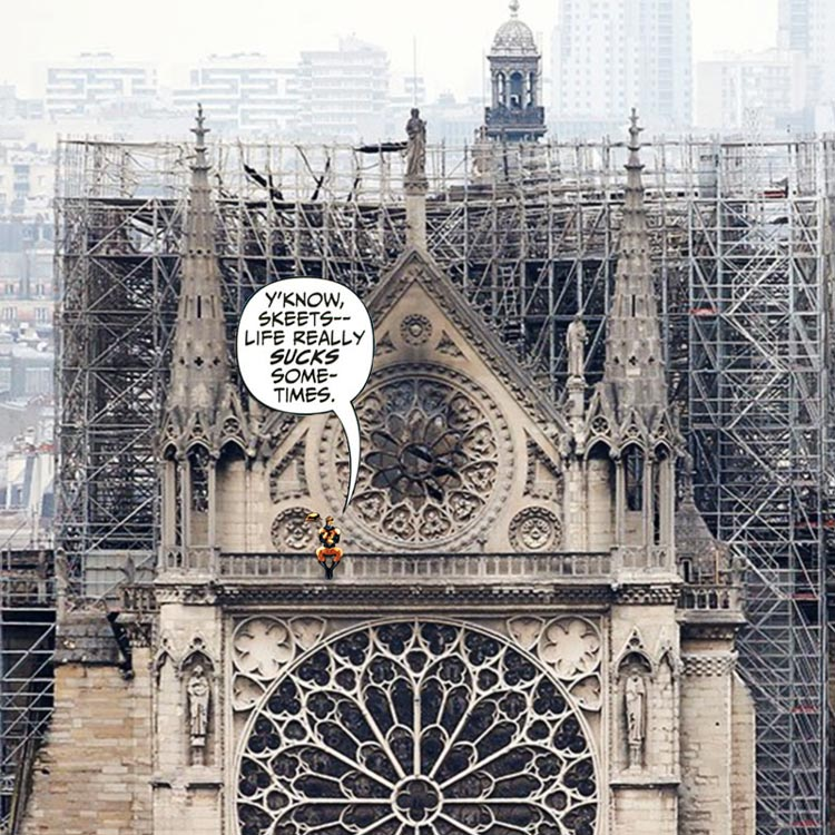 Notre Dame de Paris after the fire of April 15, 2019