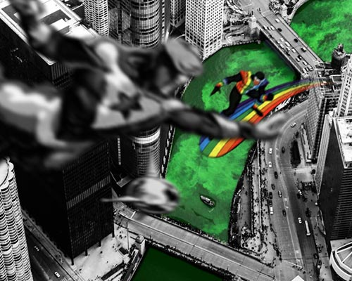Booster Gold vs Rainbow Raider over the Chicago River