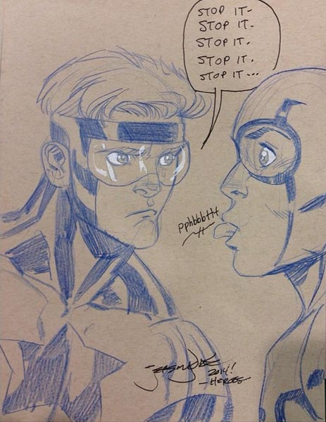 Booster Gold and Blue Beetle by Jeremy Dale