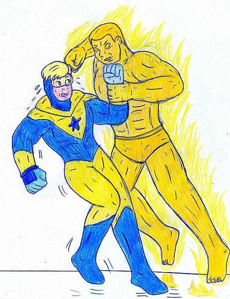 Booster Gold vs Molten Man