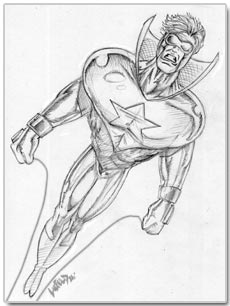 Original sketch of Booster Gold by Rob Liefeld