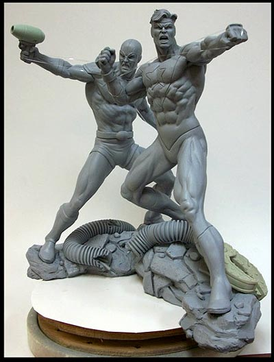 Tony McDevitt custom sculpture of Blue Beetle and Booster Gold
