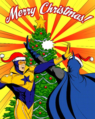 Batman and Booster Gold celebrate Christmas by Jamie McKelvie