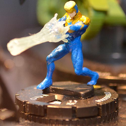 Booster Gold Heroclix at New York Comic Con 2012, photo by Russ Burlingame