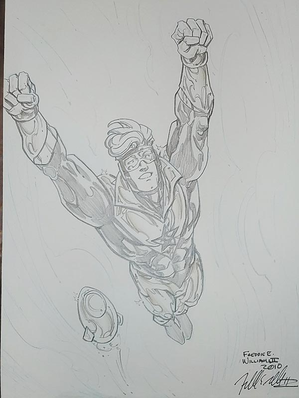 Booster Gold and Skeets by Freddie E Williams II for Steven Palchinski